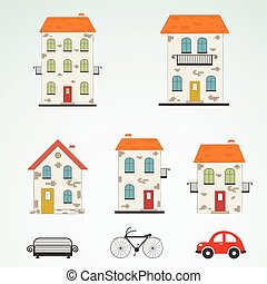 Set of old town buildings. Vector