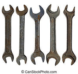 set of old wrenches on a white isolated background