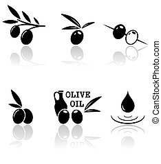 set of olive icons