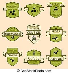 Set of olive oil emblems. Design element for logo, label, sign, poster, t shirt.