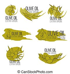 Set of olive oil logos in cartoon style. Vector illustration for design, web and decor