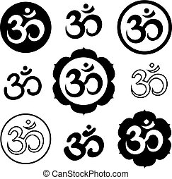 Set of Om, or Aum signs isolated on white background. Symbol of Hinduism. Art vector illustration.