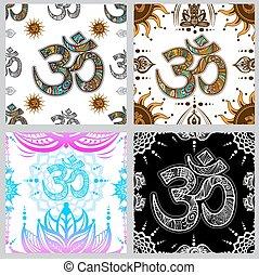 Set of Om symbol seamless pattern