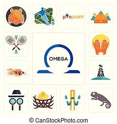 Set of omega, chameleon, w with arrow, bird nest, private detective, oil derrick, hot rod, prayer hands, badminton icons