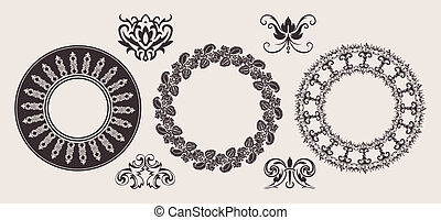 Set Of One Color Circle Lace Border Ornaments.