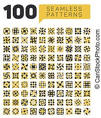 Set of One Hundred Seamless Ethnic Geometric Retro Patterns in Black White and Yellow Colors