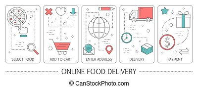 Set of online food delivery abstract vertical banners.