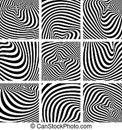 Set of op art textures. - Set of op art textures in zebra ...