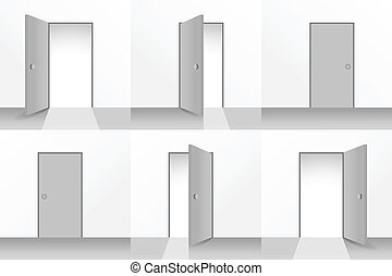 Set of open and closed doors - illustration
