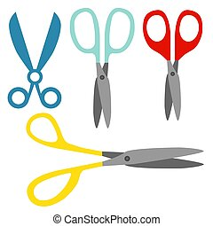 Set of open color scissors on white background. Flat vector illustration.