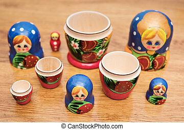 Set of open nesting dolls