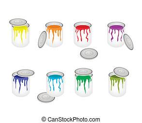 Set of Opened Buckets with Six Paint Colors