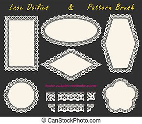 Set of Openwork White Lace pattern brush and various lacy napkins, doilies and tracery elements.