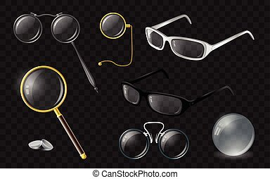 Set of optics - modern vector realistic isolated clip art