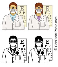 set of optometrist vector icons female and male wearing ...