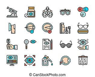 Set of Optometry Flat Color Icons. Vitamins, Optical Clinic, Surgery and more.