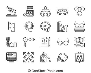 Set of Optometry Line Icons. Vitamins, Optical Clinic, Eye Surgery and more.