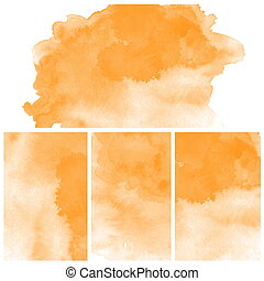Set Of orange Abstract watercolor