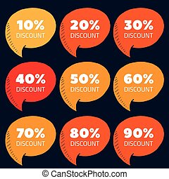Set of orange and red percent discount speech bubble, sale vector illustration