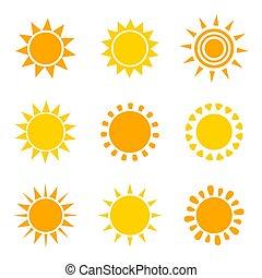 Set of orange and yellow sun icons