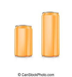 Set of orange blank aluminium cans.