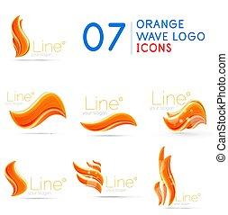 Set of orange color wave logo templates