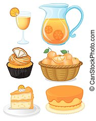 Set of orange desserts and juice