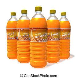 Set of orange drinks in plastic bot