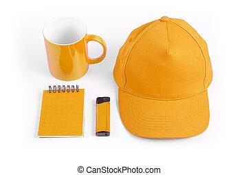Set of orange elements for corporate identity design on white background.