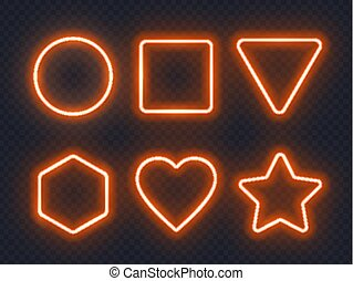 Set of orange glowing neon frames on dark background.