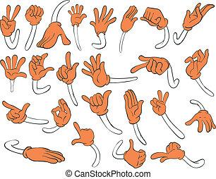 Set of orange hands