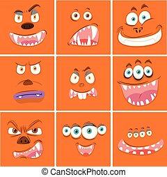 Set of orange monster face