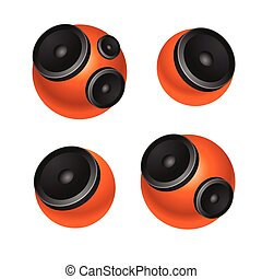 Set of orange round speakers isolated on white