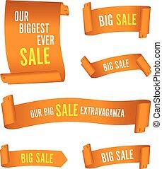 set of orange sale banners