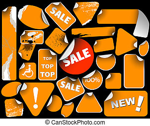 Set of orange sale labels (grunge)
