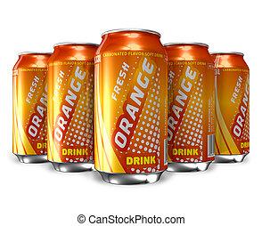 Set of orange soda drinks