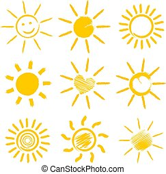 set of orange sun icons