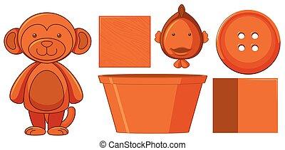 Set of orange toys