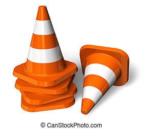 Set of orange traffic cones