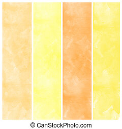 Set of orange watercolor abstract