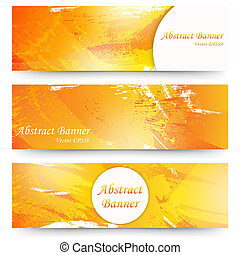 Set of orange watercolor banners.