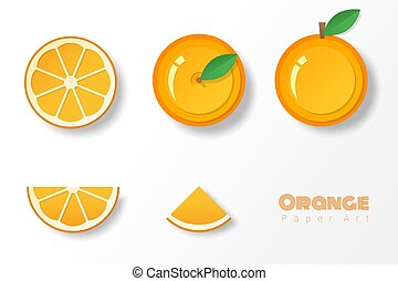 Set of oranges in paper art style
