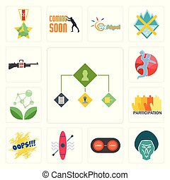 Set of order management, baboon, convert, kayak, oops, participation, antioxidant, handball, gun shop icons