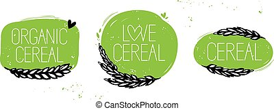 Organic cereal, love cereal set symbol
