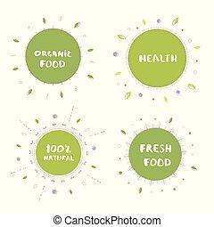 Set of organic food banner. Vector illustration.