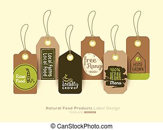 Set of organic healthy food tag and label sticker design