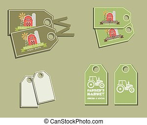 Set of organic labels - stickers for natural farm products. Ecology theme. Green eco design. Vector