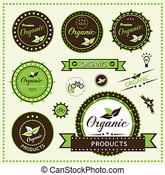 Set of organic labels, Vector illustration