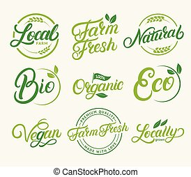 Set of organic, local farm, farm fresh, natural product, bio, vegan hand written lettering logos, labels, badges, emblems.