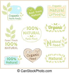 Set of organic non chemical quality and fair trade guarantee tag label emblem sticker for plant fruits and vegetable